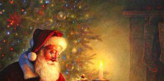 """""""Santa Claus y el nacimiento"""", Greg Olsen"""