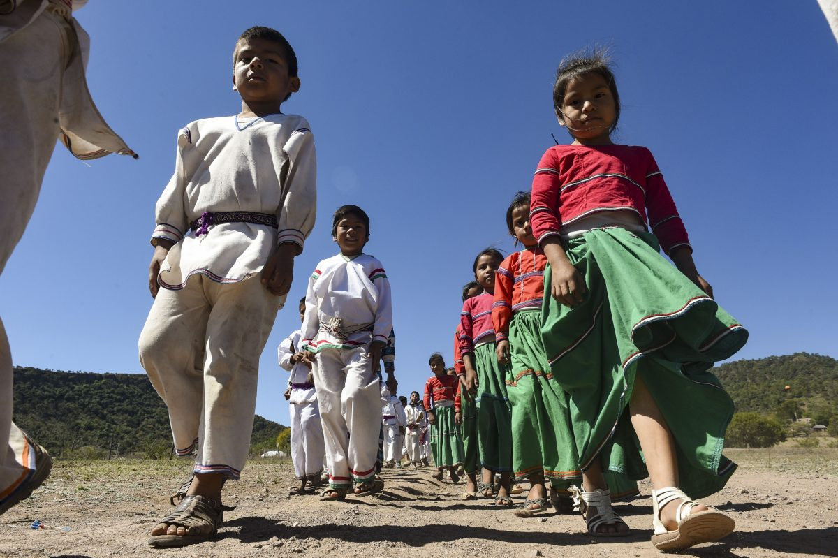 Niños wixárikas de San Miguel Huaxtita