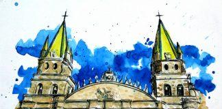 """""""Catedral"""", Lidia Barragán de Urban Scketchers Guadalajara"""