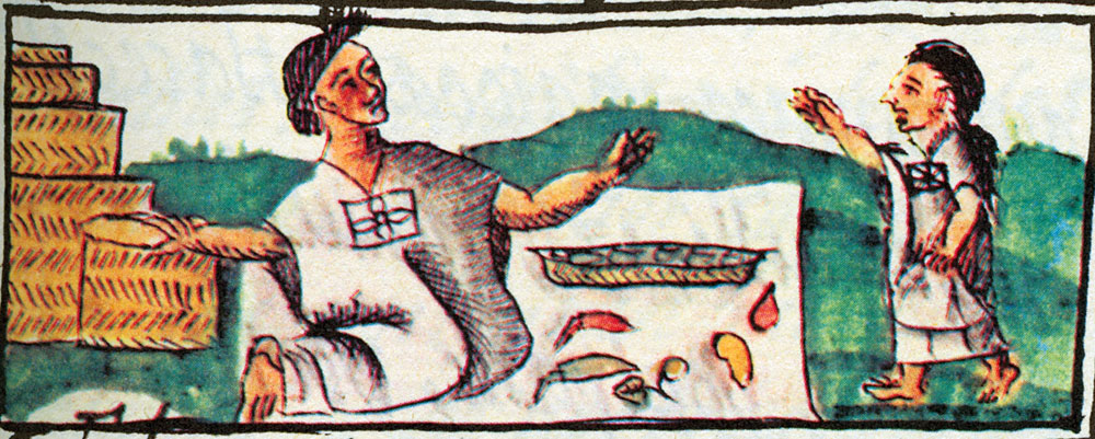 Códice florentino: Vendedora de chiles. Foto de Mexicolore.