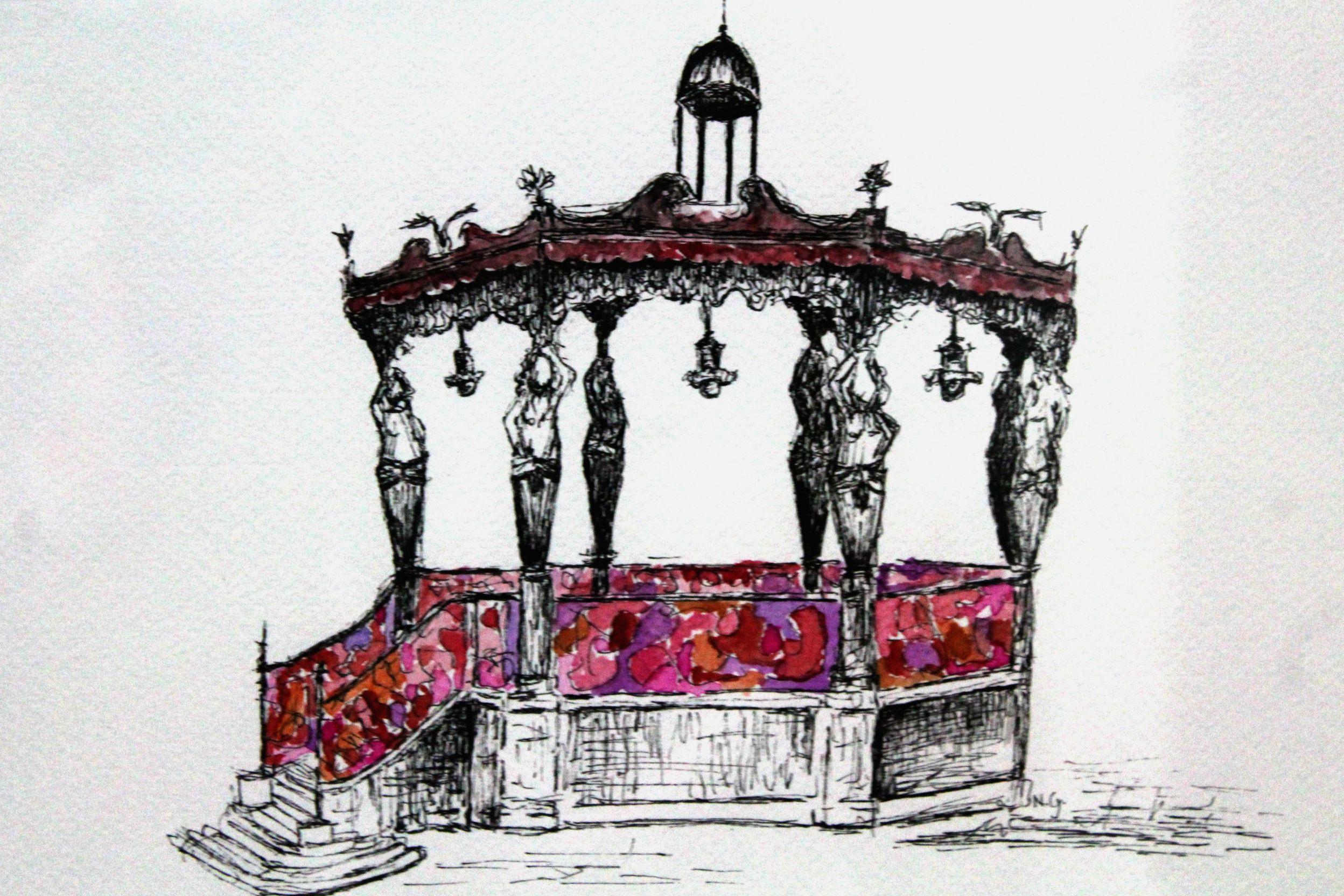 """Kiosco de Plaza de Armas"", Natalie Gonzalez de Urban Scketchers Guadalajara"