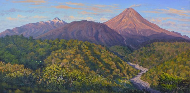 """""""Los volcanes de Colima y el rio la Lumbre"""", Jorge Obregón"""