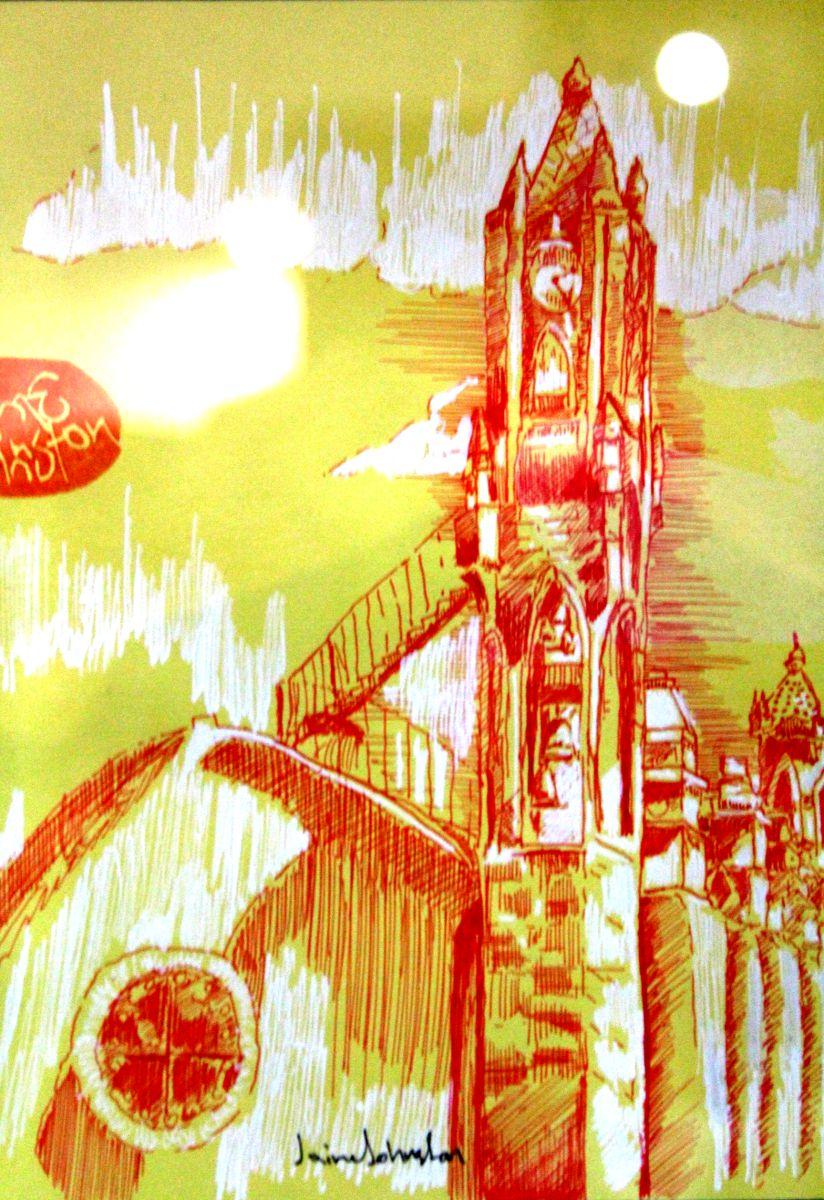 """""""Templo de El Refugio"""", Jaime Johnston de Urban Scketchers Guadalajara"""