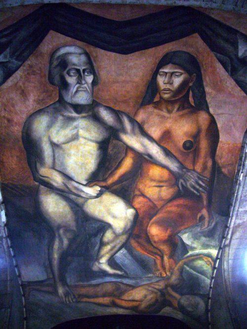 """""""Cortés y la Malinche"""", José Clemente Orozco (1926)"""