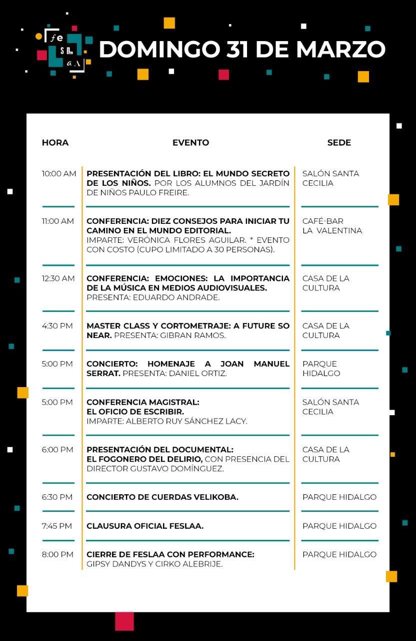 Cartelera Feslaa 3, domingo