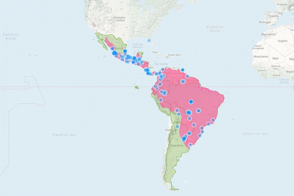 Distribución de la Nutria Neotropical en America