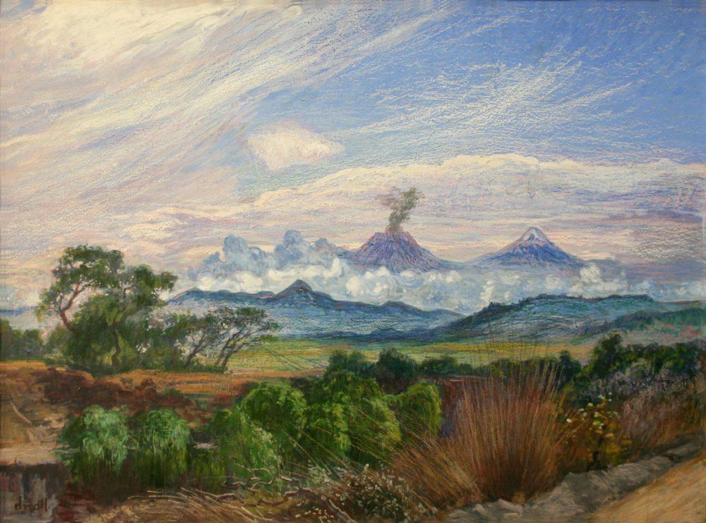 """""""Vista de los volcanes desde Cuautla"""", Dr. Atl. 1958."""