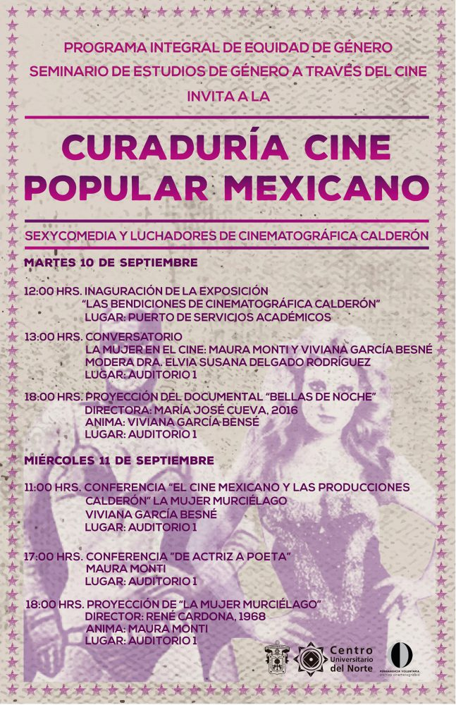 """curaduría """"Cine popular mexicano: Sexycomedia y luchadores, de Cinematográfica Calderón"""""""