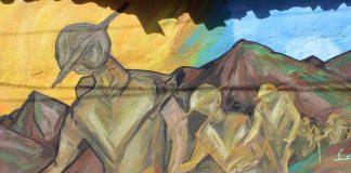 Pintura mural sobre Peregrinos de Talpa, pintada en calles de Talpa de Allende