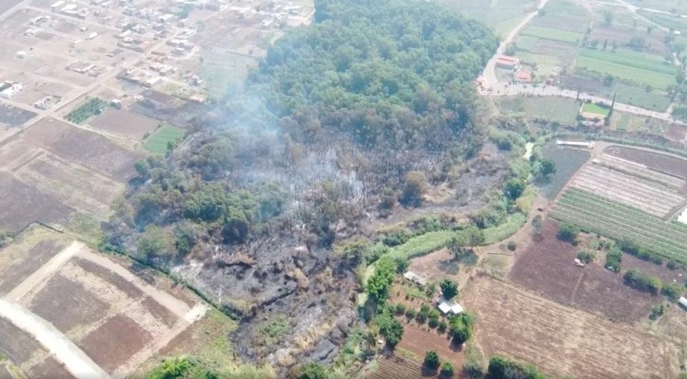 Fuego en Ciénega de Tlaxcala, Ayotlán, Jalisco