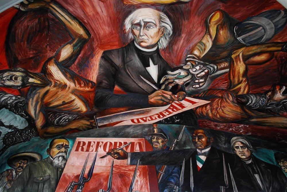 """""""Hidalgo"""" Jose Clemente Orozco, en el antiguo Congreso de Jalisco al interior del Palacio de Gobierno"""