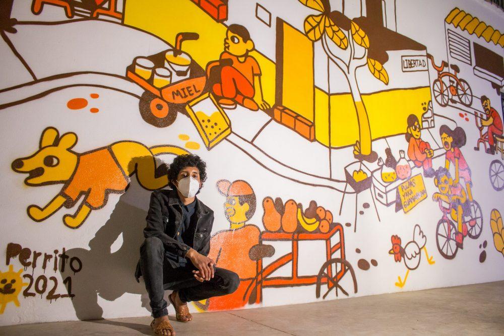Maldito Perrito pinta mural en El Pitillal